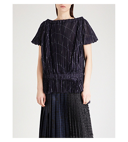 SACAI Checked pleated organza top (Navy