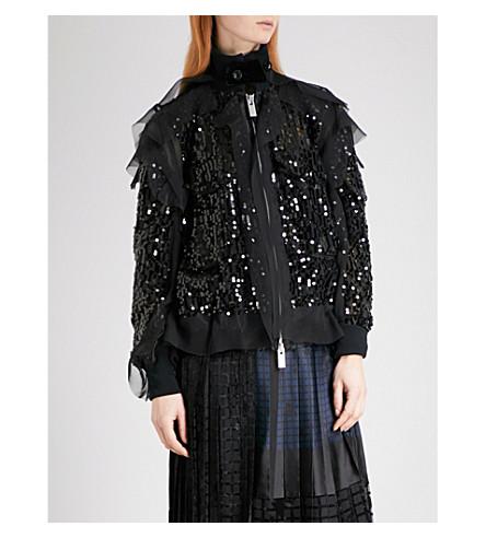 SACAI Ruffled sequin bomber jacket (Black/black