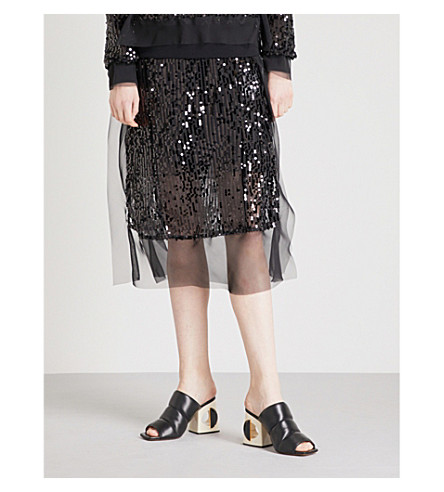 SACAI Sequinned embellished skirt (Black/black