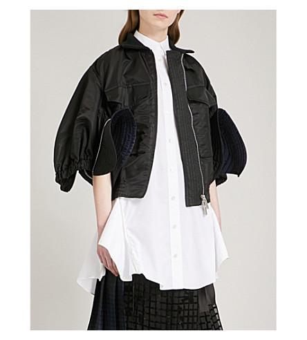 SACAI Cropped satin bomber jacket (Black