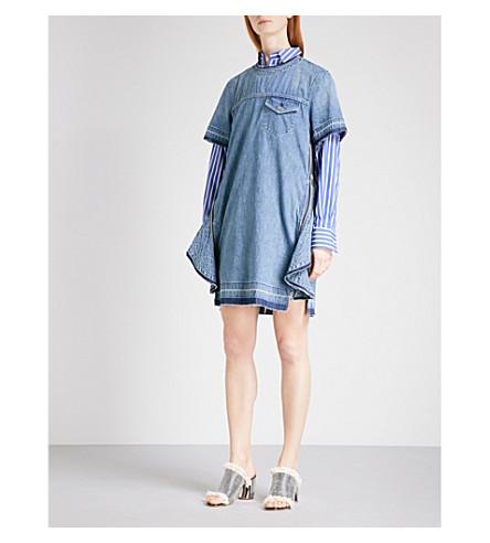 SACAI Distressed A-line denim dress (L+blue