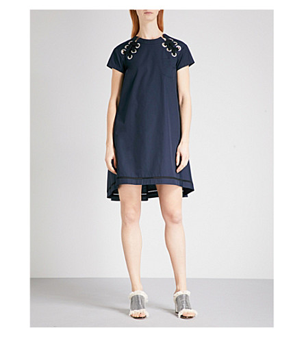 SACAI Laced-detail woven dress (Navy