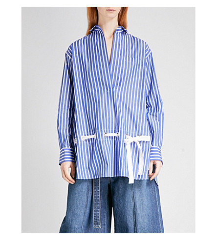 SACAI 拉绳-细部府绸衬衫 (条纹