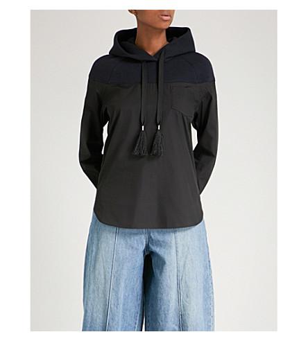 SACAI Deconstructed cotton-jersey hoody shirt (Black/navy