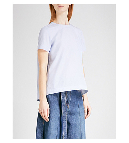 SACAI Draped cotton-blend top (L+blue