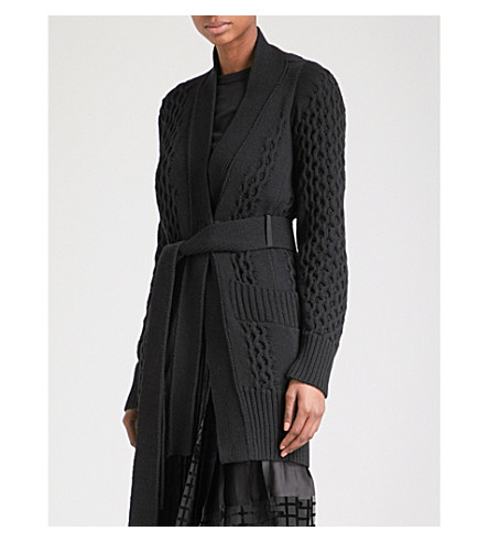 SACAI Belted cable-knit cotton cardigan (Black