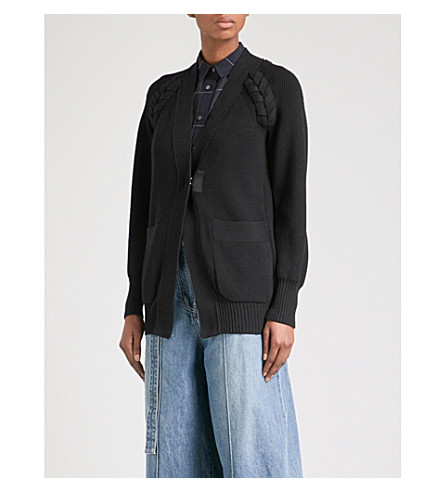 SACAI Braided-knit cotton-blend cardigan (Black/black
