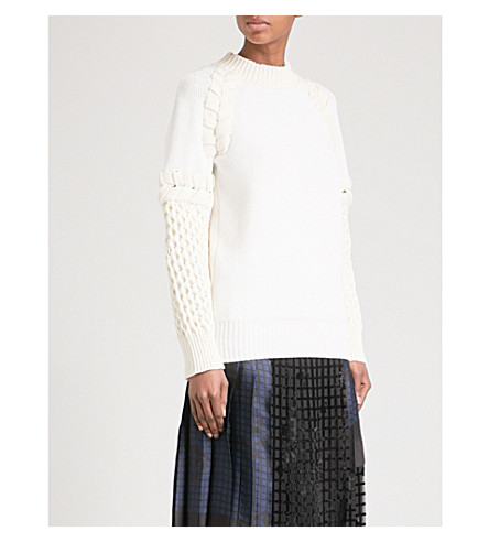 SACAI Braided-detail cotton-blend jumper (Off+white/ecru