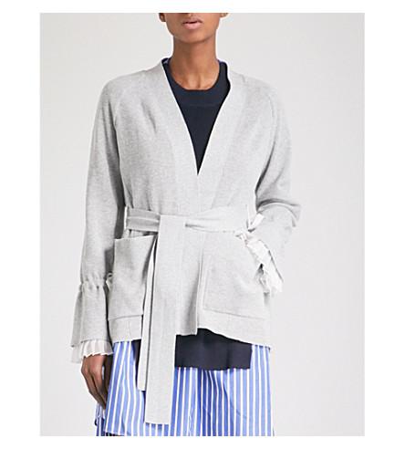 SACAI Chiffon-trimmed belted cardigan (L+grey