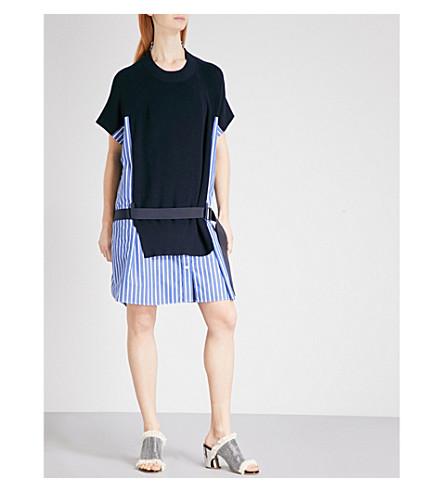 SACAI 针织板条纹棉府绸连衣裙 (海军/条纹