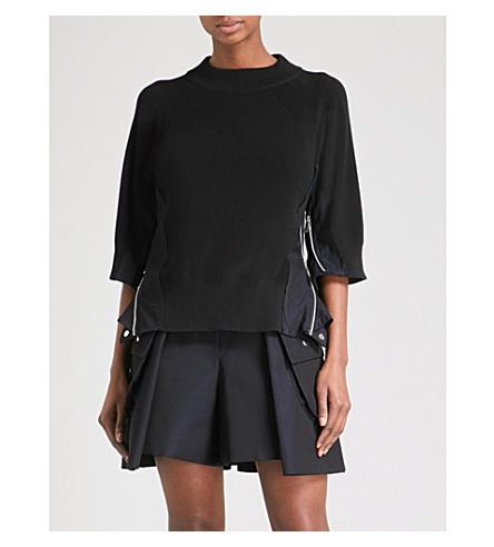 SACAI Loose-sleeve knitted top (Black/navy