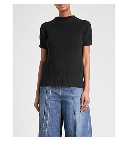 SACAI Draped-back knitted top (Black/navy