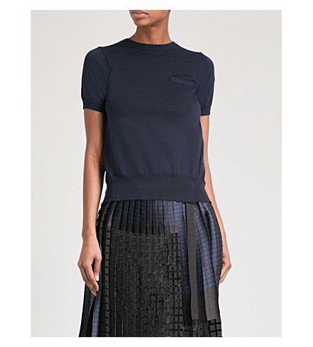 SACAI Contrast-panel knitted top (Navy