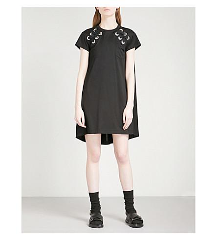 SACAI Lace up-detail cotton mini dress (Black