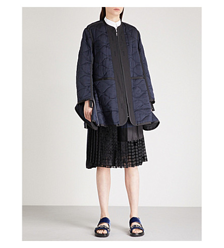 SACAI Zip-up quilted jacket (Navy