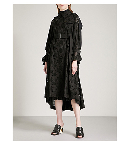 SACAI Heart embroidered cotton-lace trench coat (Black/navy