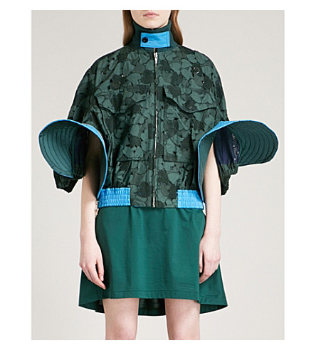SACAI Heart-embroidered cotton-lace bomber jacket (Green/blue