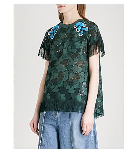 SACAI Fringed heart-embroidered lace T-shirt (Green