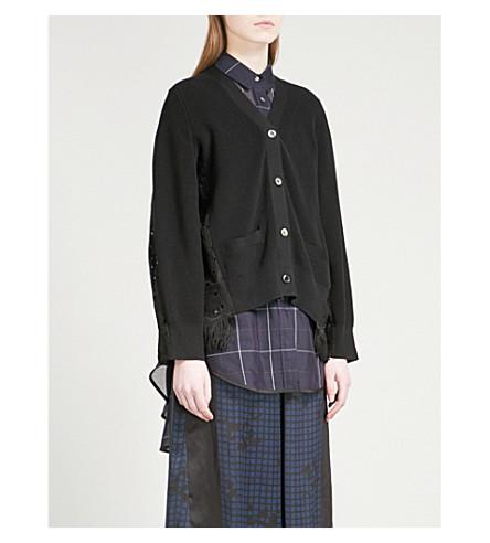 SACAI Heart lace-panel cotton cardigan (Black/black