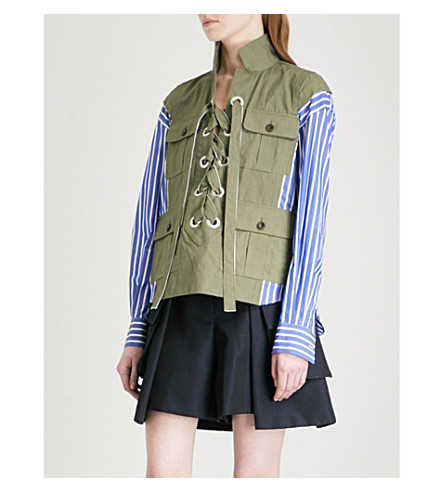 SACAI Laced contrast-panel striped cotton-blend shirt (Khaki/stripe