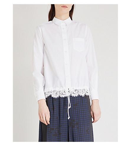 SACAI Lace-hem woven shirt (White