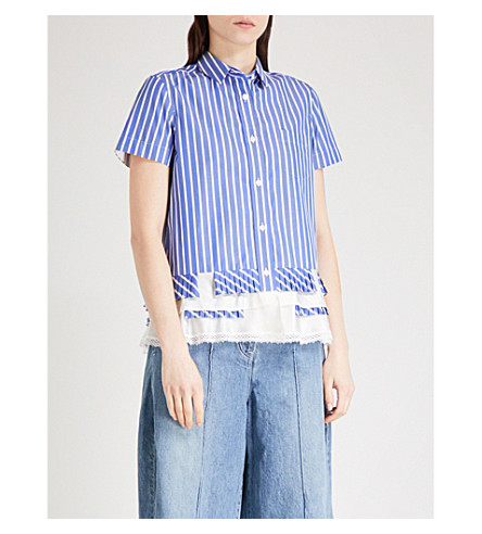 SACAI Lace-hem striped cotton shirt (Stripe