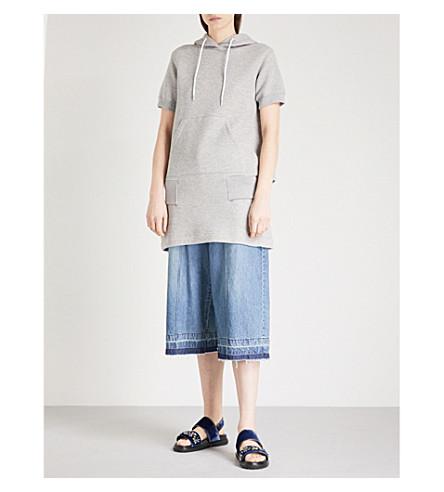 SACAI Hooded cotton-blend sweatshirt dress (L+grey