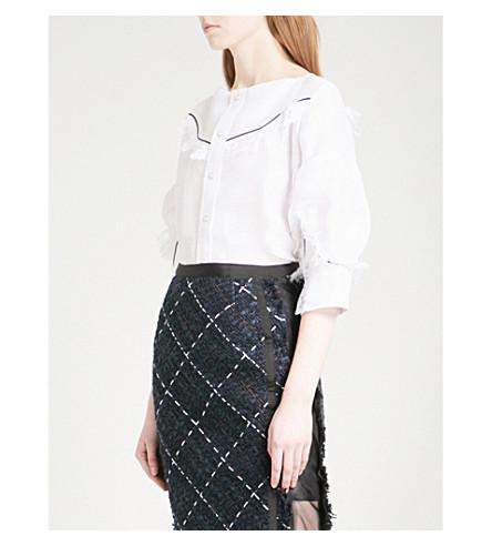 SACAI Western-detail linen-blend top (White