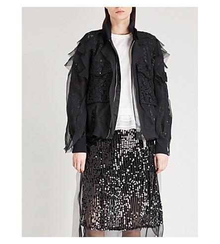 SACAI Lace and chiffon bomber jacket (Black/black