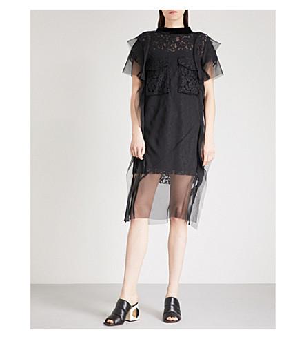 SACAI Pocket-detail lace and chiffon dress (Black/black