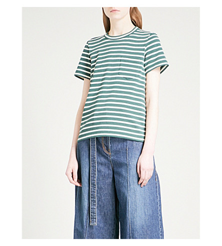 SACAI Dixie draped-back cotton T-shirt (Green/ecru