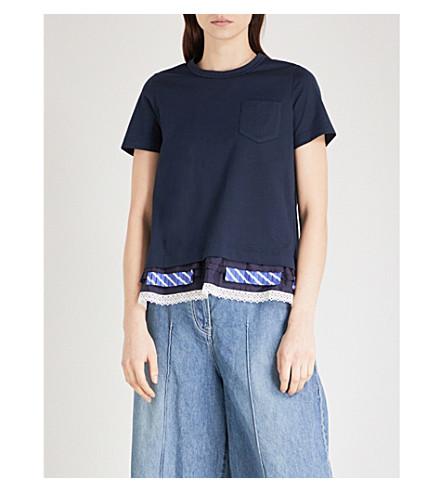 SACAI Hem-detail cotton-jersey T-shirt (Navy