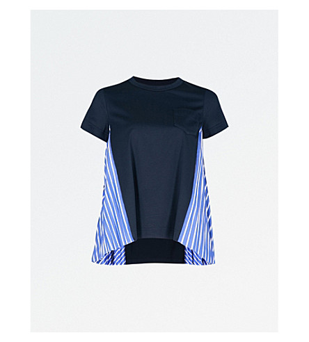 SACAI Pleated sides cotton-jersey T-shirt (Navy
