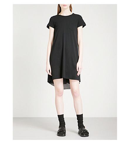 SACAI Pleated-back cotton and woven mini dress (Black