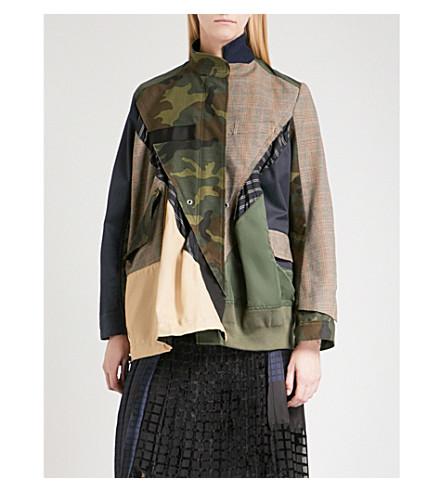 SACAI Patchwork cotton, shell and wool-blend jacket (Beige/khaki
