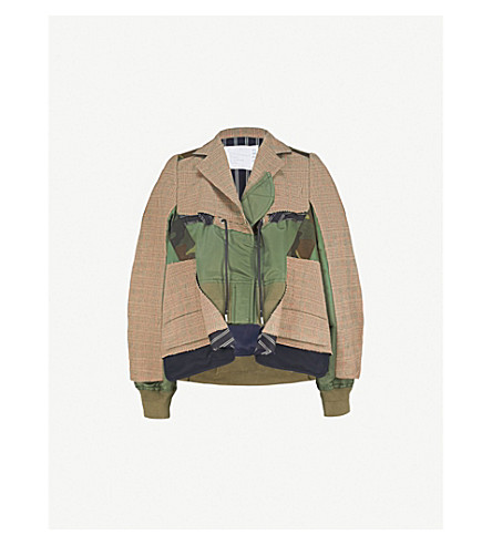 SACAI Hybrid stretch-cotton and wool-blend bomber jacket (Beige/khaki