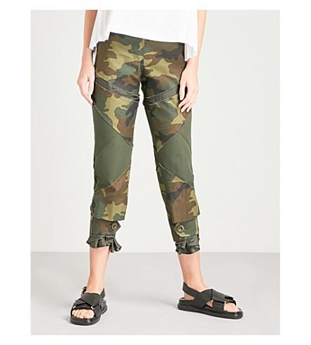 SACAI Camo-print cotton trousers (Khaki+camouflage
