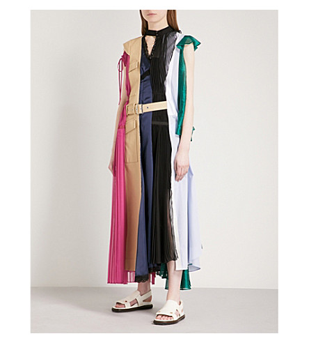 SACAI Hybrid cotton, chiffon and satin dress (Multi