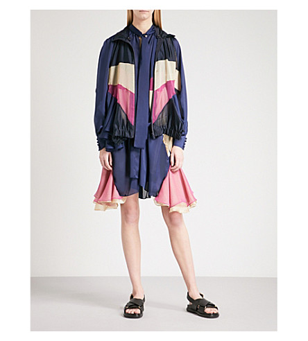 SACAI Convertible chiffon and satin jacket dress (Navy/beige/pink
