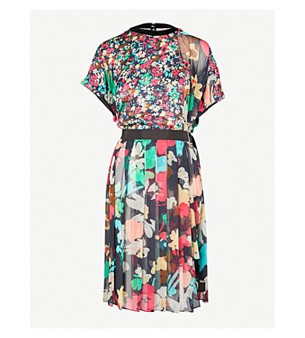SACAI Asymmetric floral-print chiffon mini dress (Navy