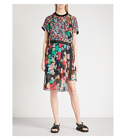 SACAI Asymmetric floral-print chiffon mini dress (Navy
