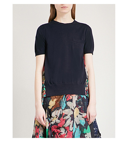 SACAI Hybrid cotton and chiffon top (Navy