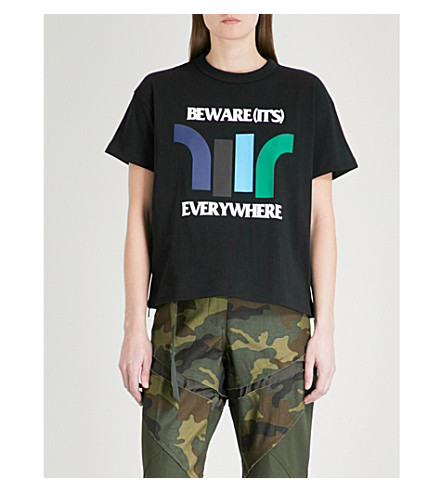SACAI Beware cotton-jersey T-shirt (Black/multi