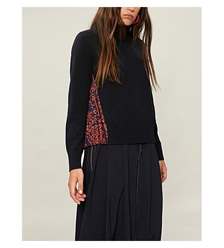 SACAI Reyn Spooner floral-print wool and crepe jumper (Navy