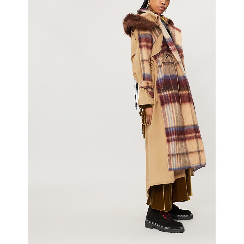 CONTRAST CHECK-PATTERN WOOL AND COTTON-BLEND TRENCH COAT