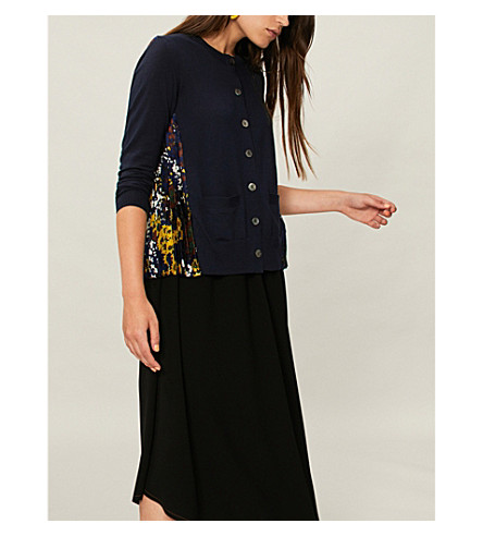 SACAI Floral-panel wool and crepe cardigan (Navy
