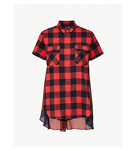 SACAI Buffalo checked brushed-cotton shirt (Orange/navy