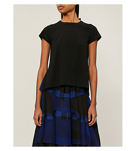 SACAI Buffalo checked chiffon and cotton top (Blue/black