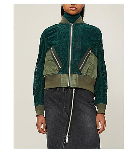 SACAI Floral lace velvet bomber jacket (Green
