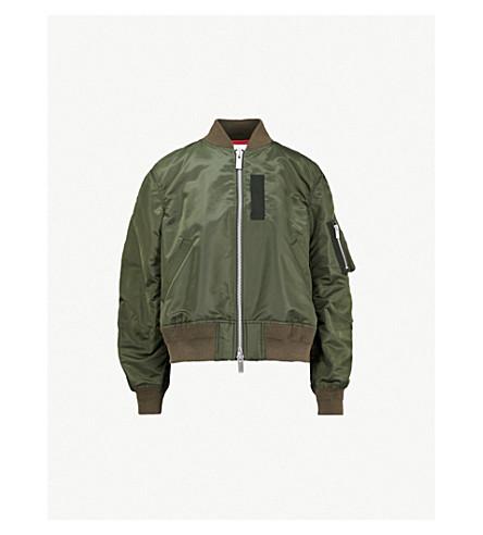 SACAI Pleat-back oversized MA-1 bomber jacket (Khaki
